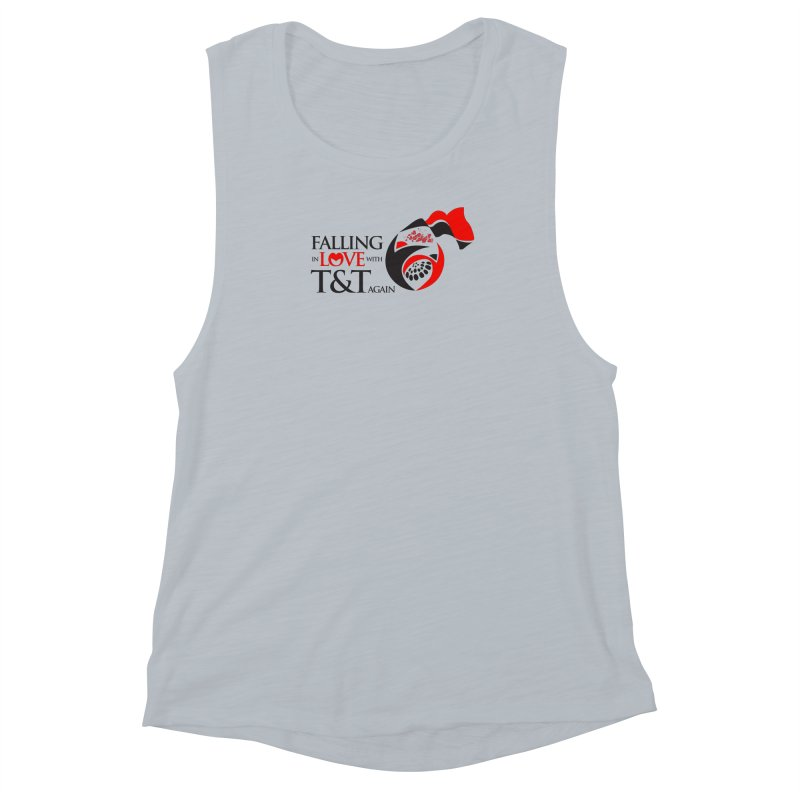 Falling in Love with TT - Round logo with hearts Women's Muscle Tank by WACK 90.1fm Merchandise Store