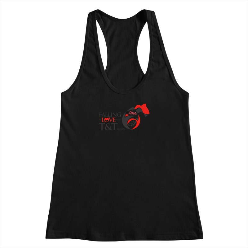 Falling in Love with TT - Round logo with hearts Women's Racerback Tank by WACK 90.1fm Merchandise Store