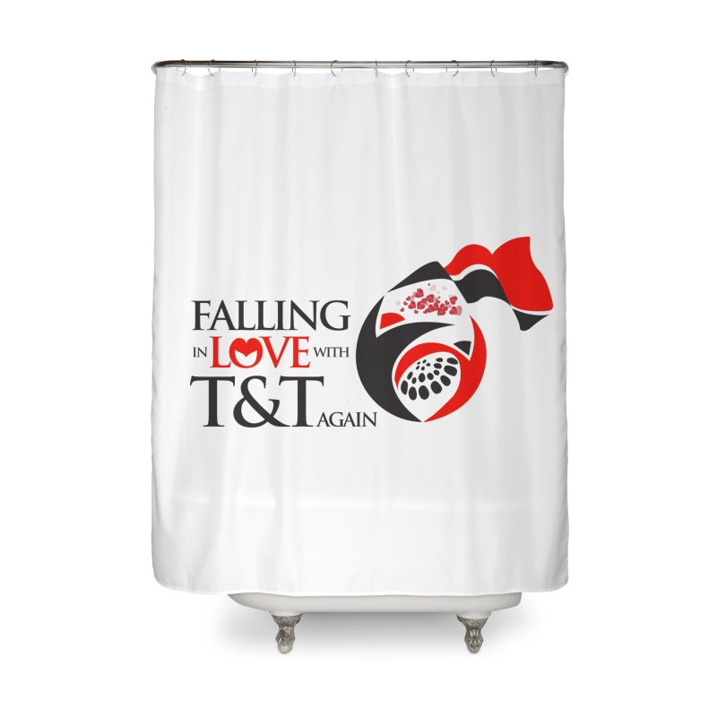 Falling in Love with TT - Round logo with hearts Home Shower Curtain by WACK 90.1fm Merchandise Store