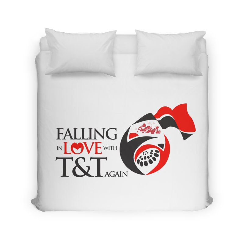Falling in Love with TT - Round logo with hearts Home Duvet by WACK 90.1fm Merchandise Store