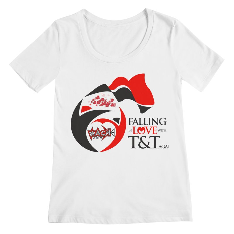 Fallin in Love with T&T Round Logo 2 Women's Regular Scoop Neck by WACK 90.1fm Merchandise Store