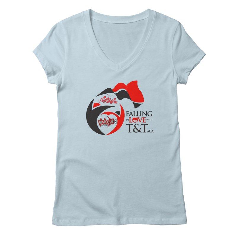 Fallin in Love with T&T Round Logo 2 Women's V-Neck by WACK 90.1fm Merchandise Store