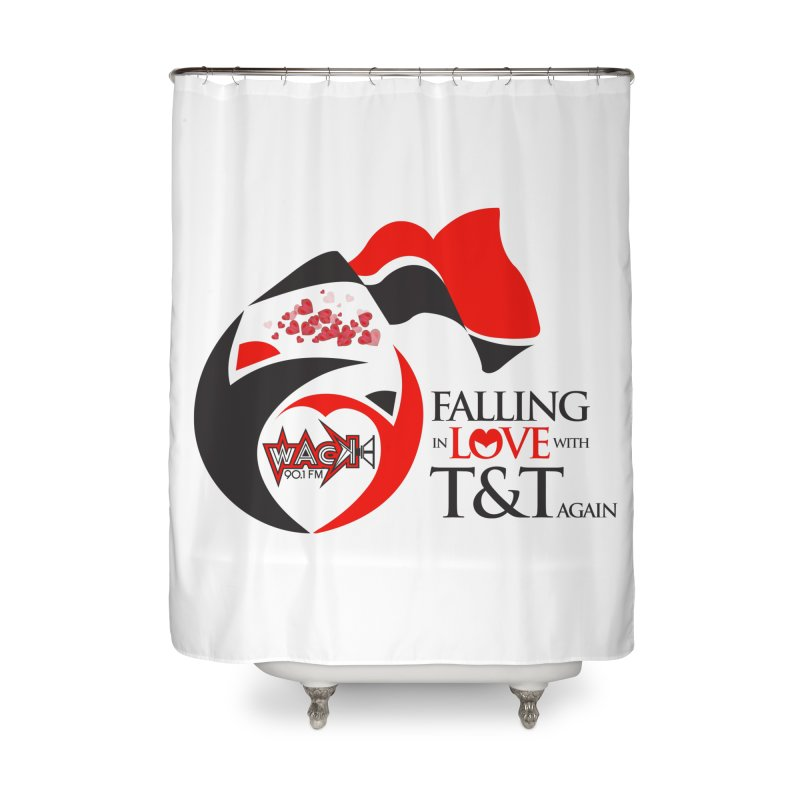 Fallin in Love with T&T Round Logo 2 Home Shower Curtain by WACK 90.1fm Merchandise Store