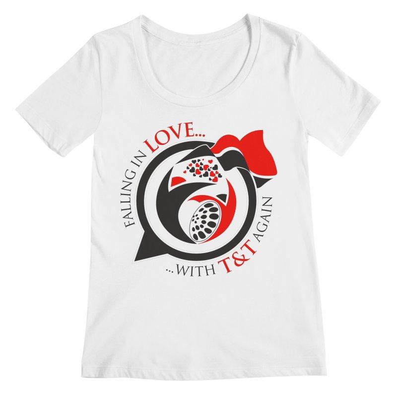 Fallin in Love with TT Round Logo 3 Women's Scoopneck by WACK 90.1fm Merchandise Store