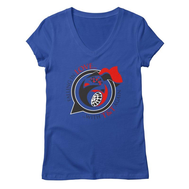 Fallin in Love with TT Round Logo 3 Women's Regular V-Neck by WACK 90.1fm Merchandise Store