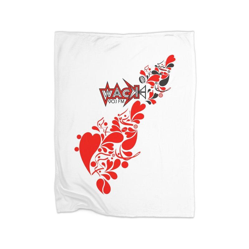 WACK 90.1fm Falling in Love - All Hearts and WACK Logo Home Blanket by WACK 90.1fm Merchandise Store