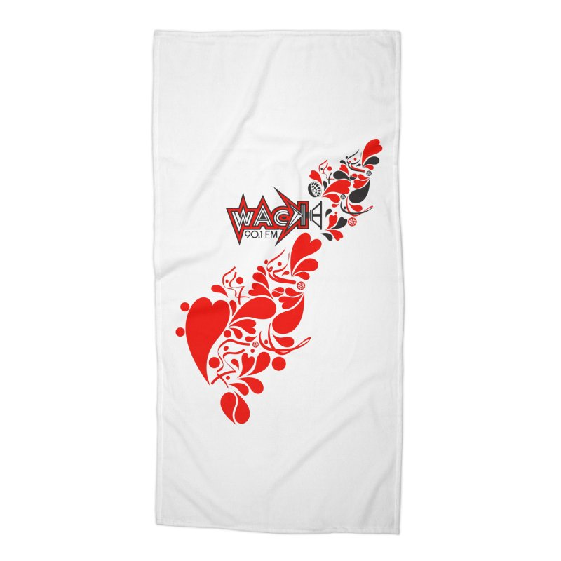 WACK 90.1fm Falling in Love - All Hearts and WACK Logo in Beach Towel by WACK 90.1fm Merchandise Store