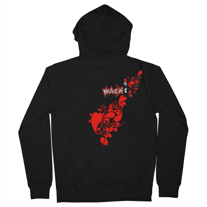 WACK 90.1fm Falling in Love - All Hearts and WACK Logo Women's French Terry Zip-Up Hoody by WACK 90.1fm Merchandise Store