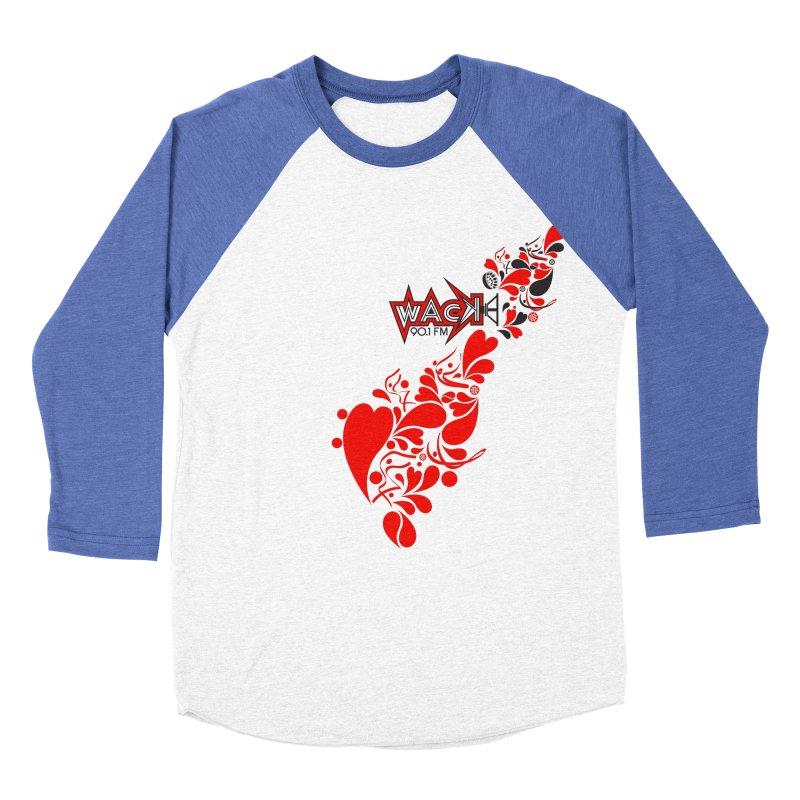 WACK 90.1fm Falling in Love - All Hearts and WACK Logo Men's Baseball Triblend T-Shirt by WACK 90.1fm Merchandise Store