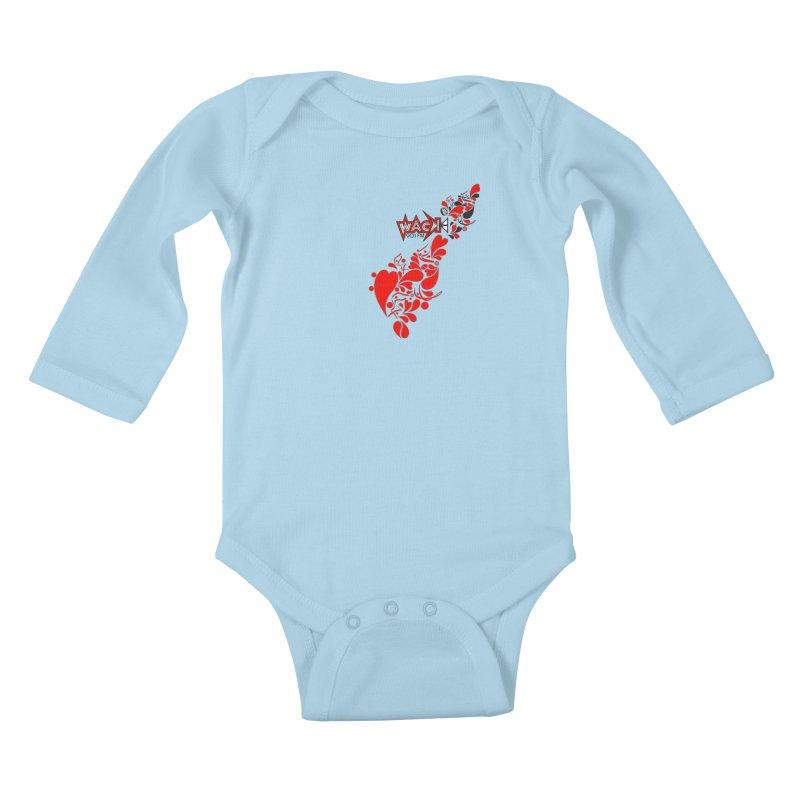WACK 90.1fm Falling in Love - All Hearts and WACK Logo Kids Baby Longsleeve Bodysuit by WACK 90.1fm Merchandise Store