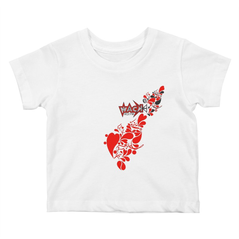 WACK 90.1fm Falling in Love - All Hearts and WACK Logo Kids Baby T-Shirt by WACK 90.1fm Merchandise Store