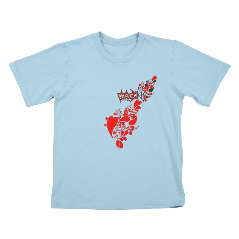 WACK 90.1fm Falling in Love - All Hearts and WACK Logo Kids T-Shirt by WACK 90.1fm Merchandise Store