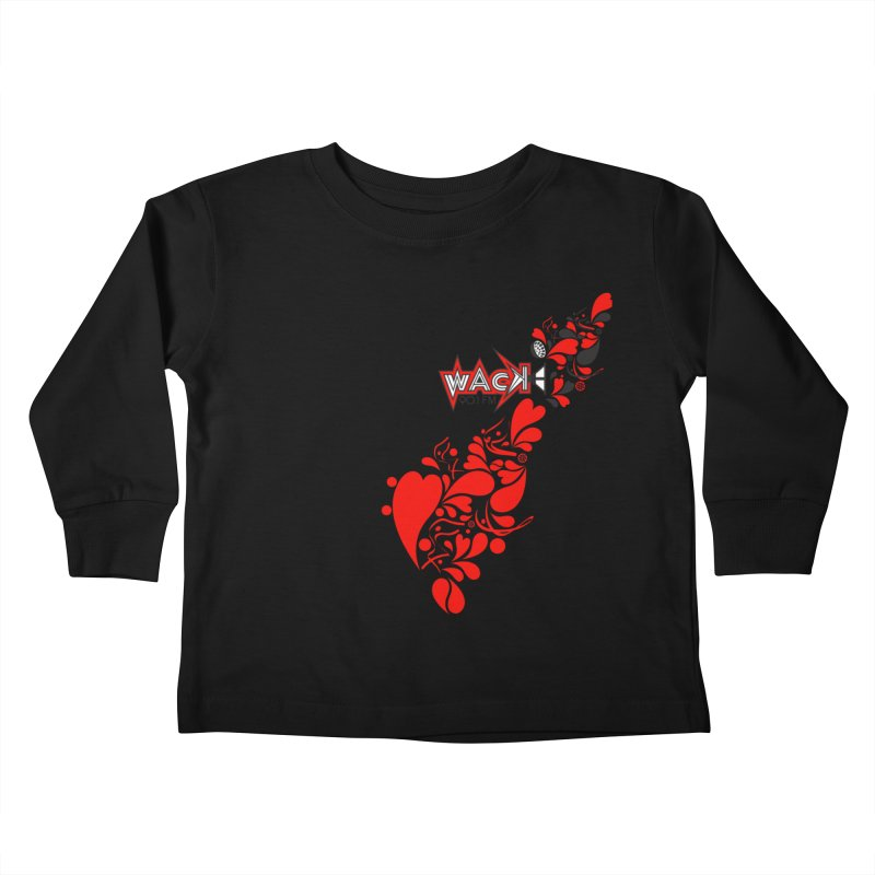 WACK 90.1fm Falling in Love - All Hearts and WACK Logo Kids Toddler Longsleeve T-Shirt by WACK 90.1fm Merchandise Store