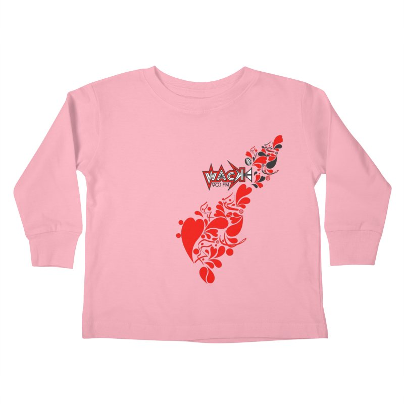 WACK 90.1fm Falling in Love - All Hearts and WACK Logo Kids Toddler Longsleeve T-Shirt by WACK 90.1fm Merchandise Store
