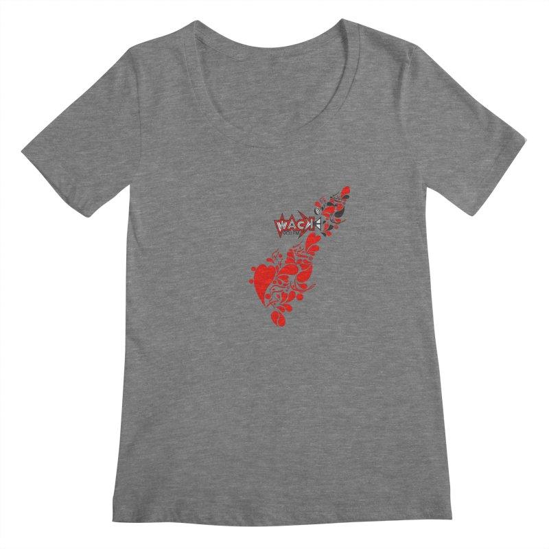 WACK 90.1fm Falling in Love - All Hearts and WACK Logo Women's Scoopneck by WACK 90.1fm Merchandise Store
