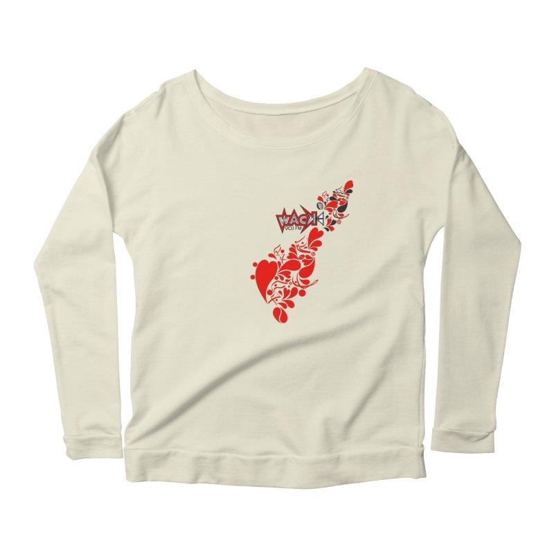 WACK 90.1fm Falling in Love - All Hearts and WACK Logo Women's Scoop Neck Longsleeve T-Shirt by WACK 90.1fm Merchandise Store