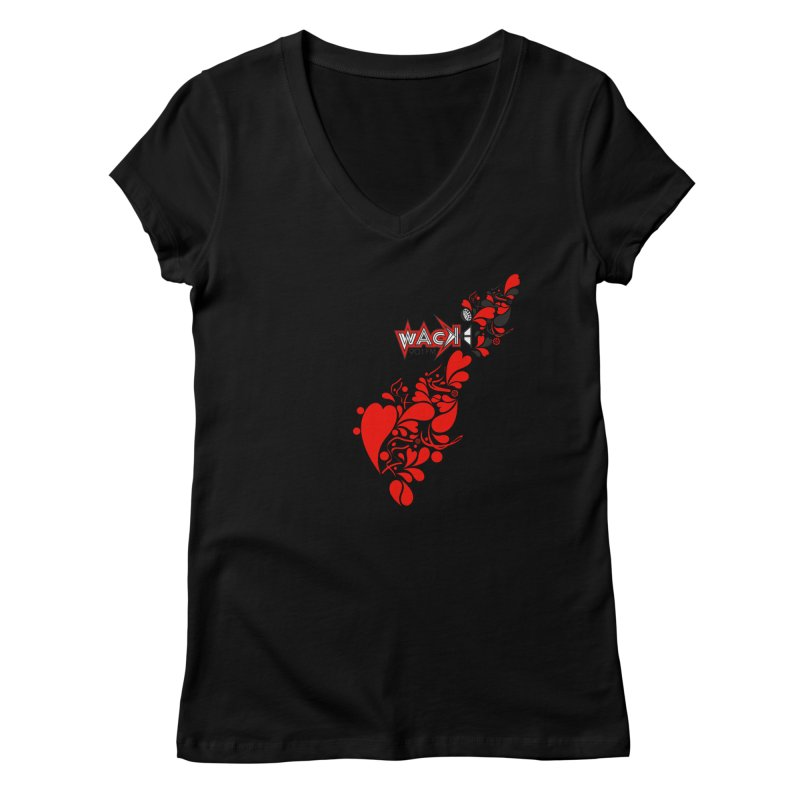 WACK 90.1fm Falling in Love - All Hearts and WACK Logo Women's Regular V-Neck by WACK 90.1fm Merchandise Store