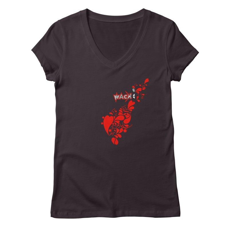WACK 90.1fm Falling in Love - All Hearts and WACK Logo Women's V-Neck by WACK 90.1fm Merchandise Store