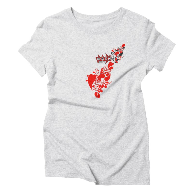 WACK 90.1fm Falling in Love - All Hearts and WACK Logo Women's Triblend T-Shirt by WACK 90.1fm Merchandise Store
