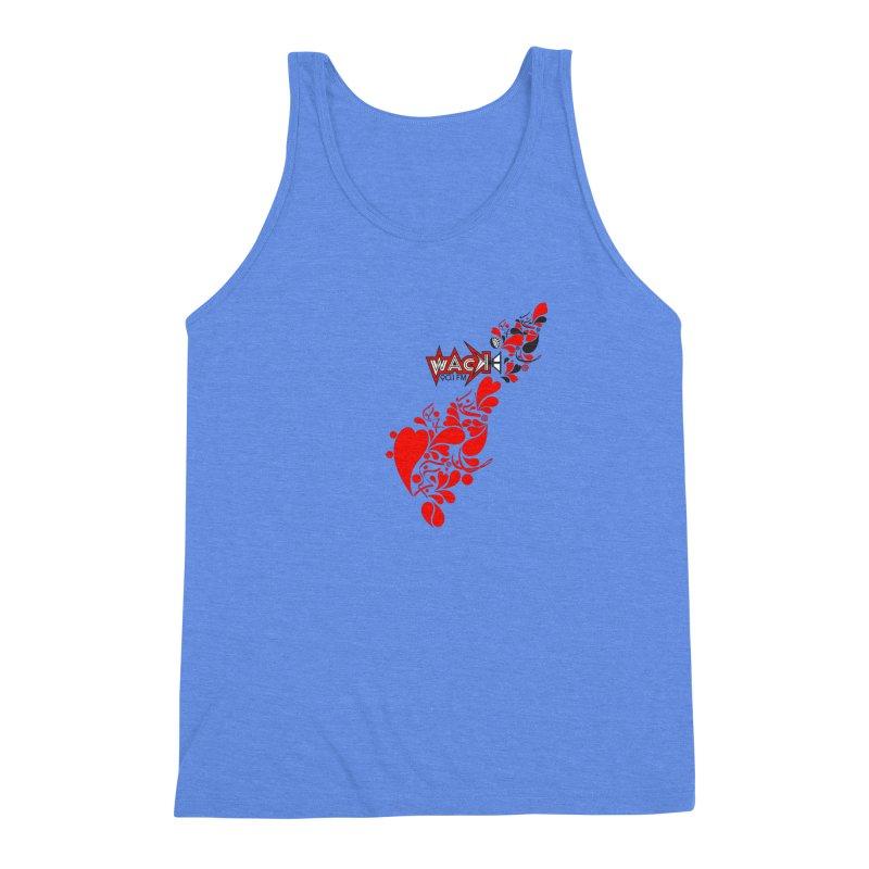 WACK 90.1fm Falling in Love - All Hearts and WACK Logo Men's Triblend Tank by WACK 90.1fm Merchandise Store