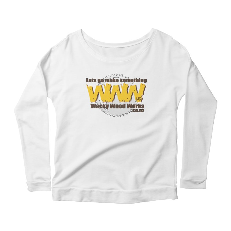 Logo Women's Longsleeve Scoopneck  by Wacky Wood Works's Shop