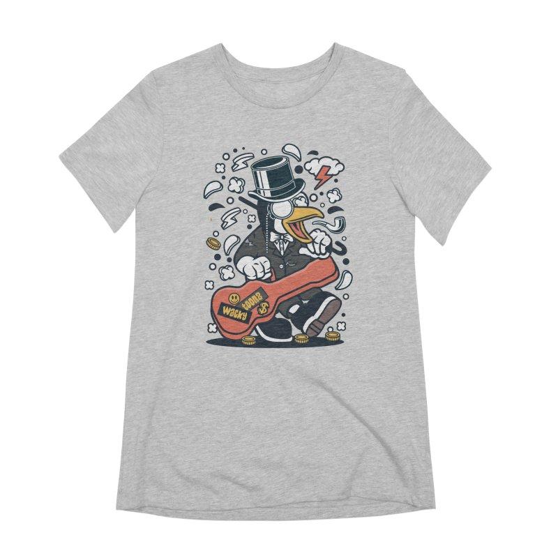 Penguin Guitarist Women's Extra Soft T-Shirt by WackyToonz