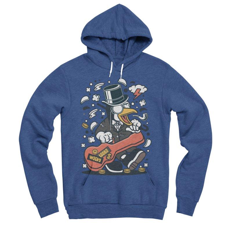 Penguin Guitarist Women's Sponge Fleece Pullover Hoody by WackyToonz
