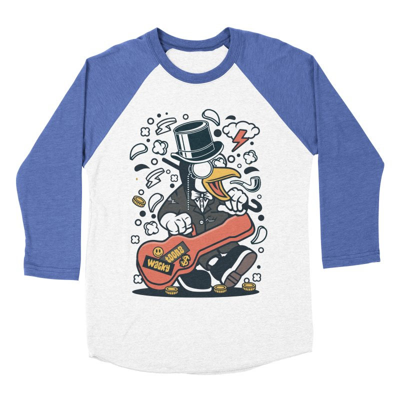 Penguin Guitarist Men's Baseball Triblend Longsleeve T-Shirt by WackyToonz