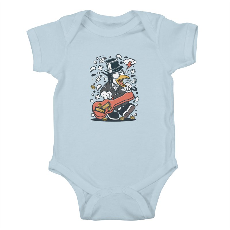 Penguin Guitarist Kids Baby Bodysuit by WackyToonz