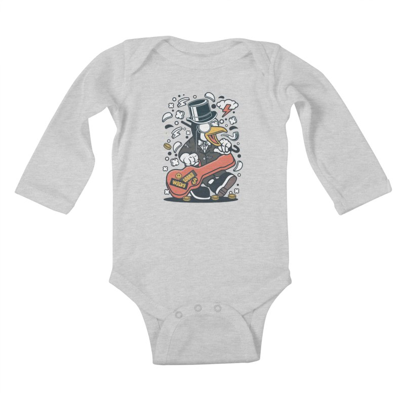 Penguin Guitarist Kids Baby Longsleeve Bodysuit by WackyToonz