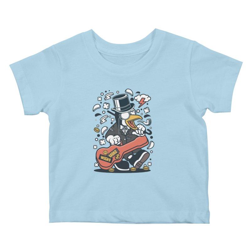 Penguin Guitarist Kids Baby T-Shirt by WackyToonz