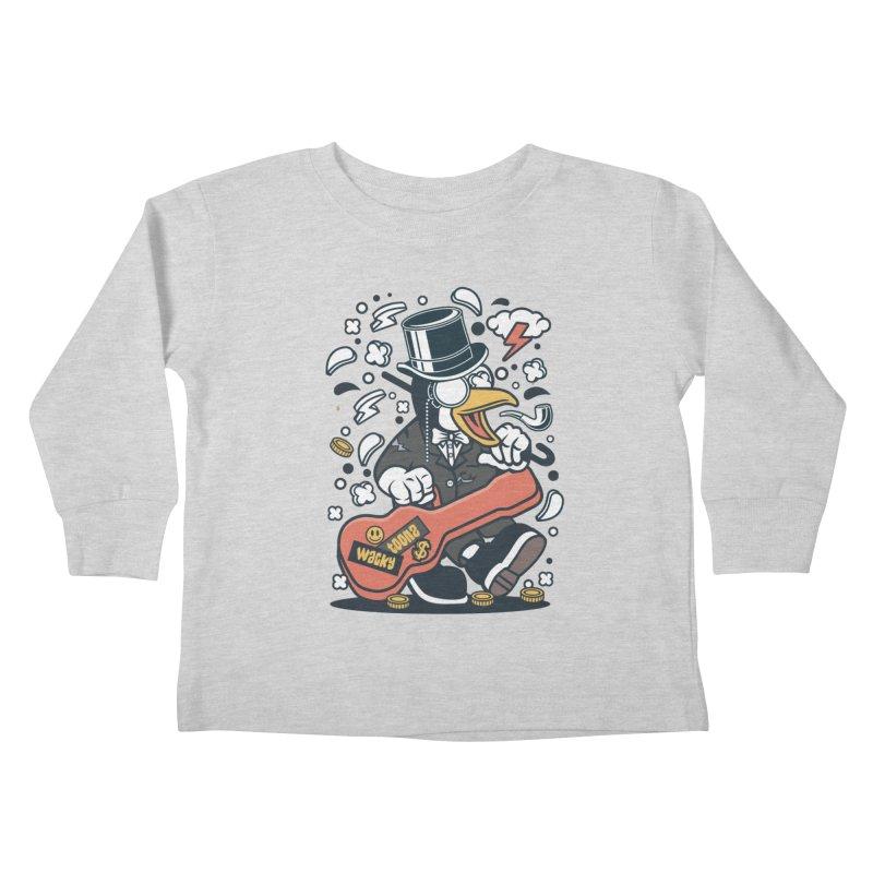Penguin Guitarist Kids Toddler Longsleeve T-Shirt by WackyToonz