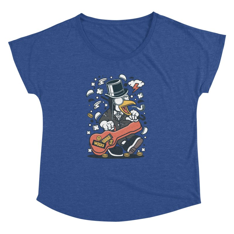 Penguin Guitarist Women's Dolman Scoop Neck by WackyToonz