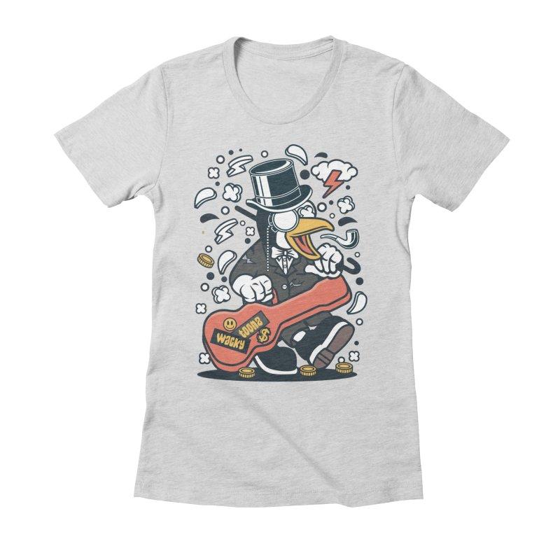 Penguin Guitarist Women's Fitted T-Shirt by WackyToonz
