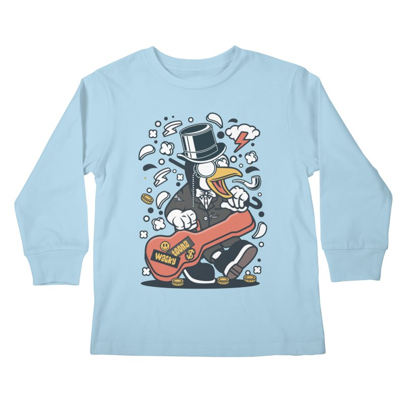 Penguin Guitarist Kids Longsleeve T-Shirt by WackyToonz