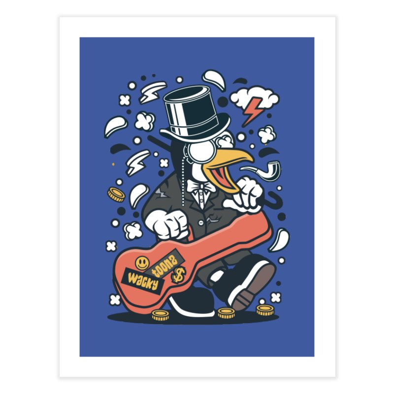 Penguin Guitarist Home Fine Art Print by WackyToonz