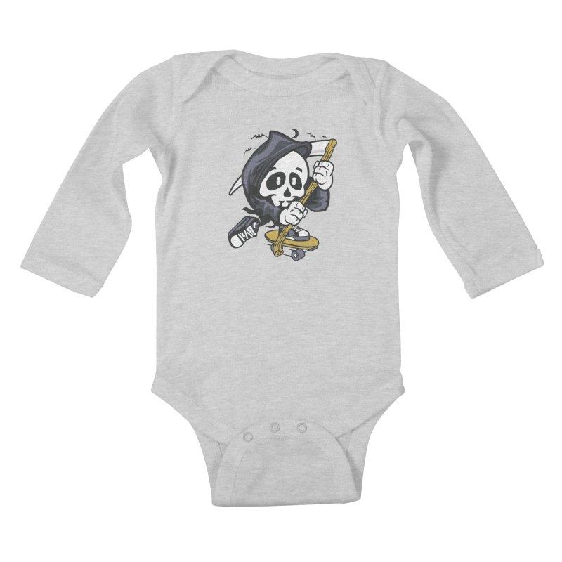 Skate Or Die Kids Baby Longsleeve Bodysuit by WackyToonz