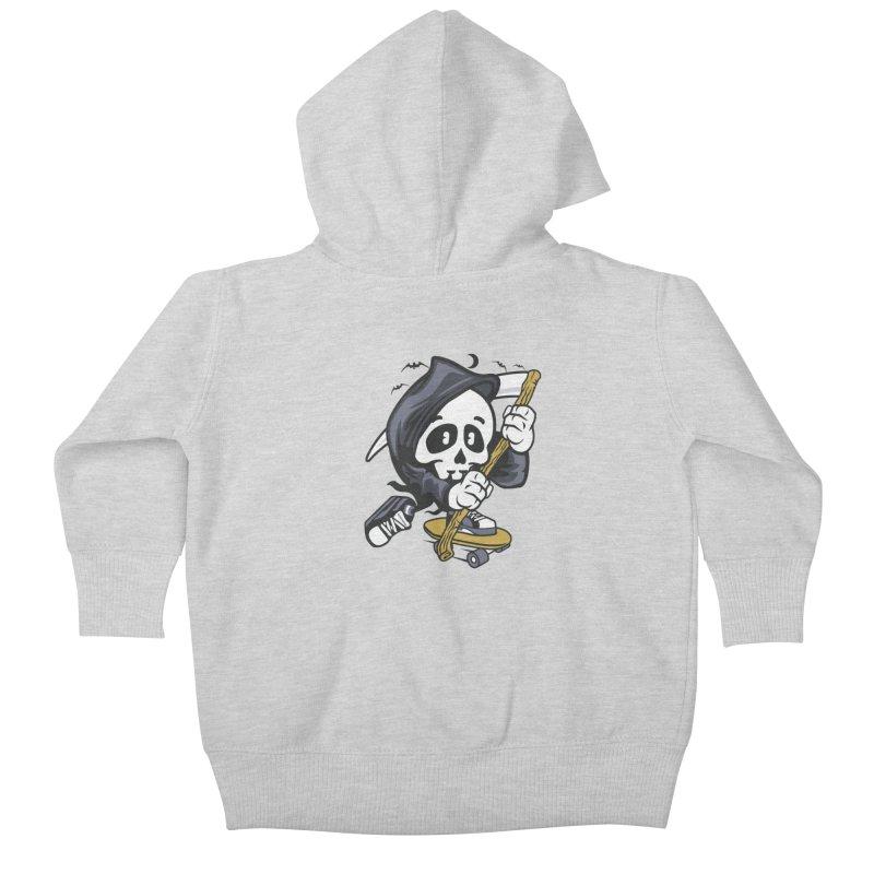 Skate Or Die Kids Baby Zip-Up Hoody by WackyToonz
