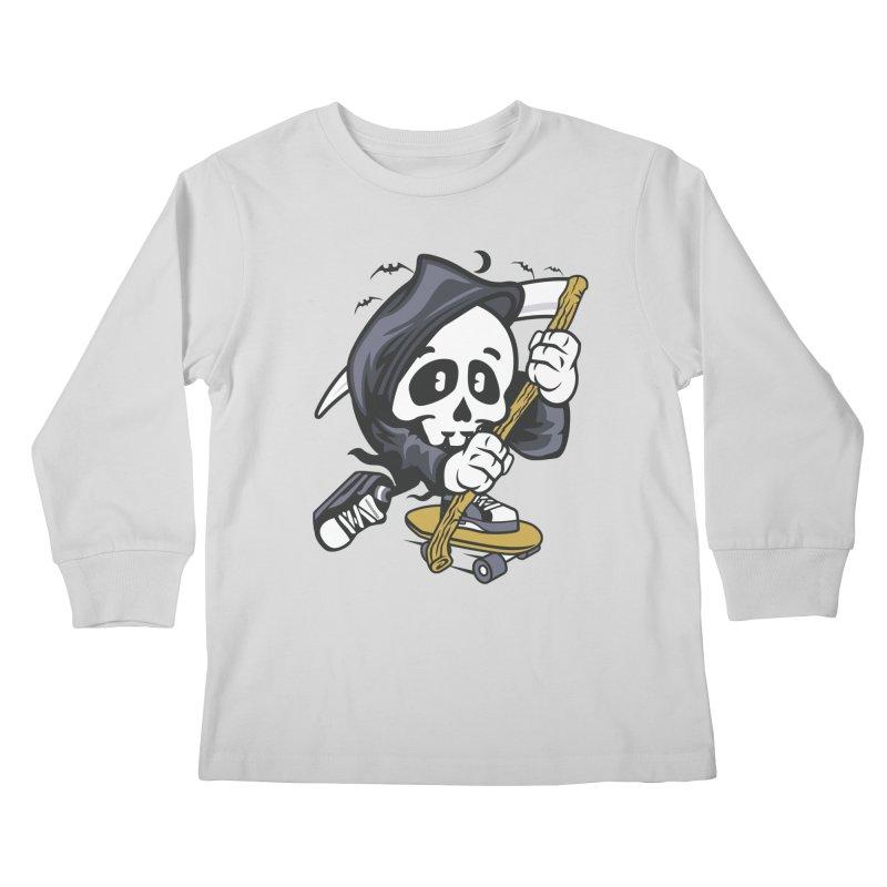 Skate Or Die Kids Longsleeve T-Shirt by WackyToonz