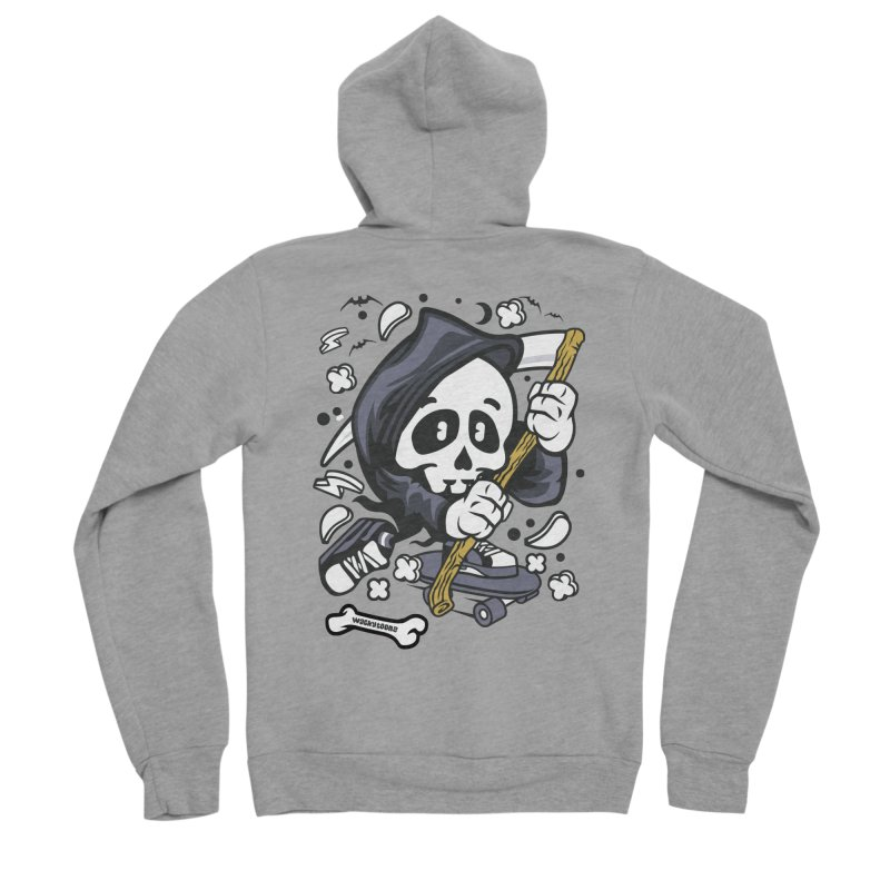 Skate Or Die Women's Sponge Fleece Zip-Up Hoody by WackyToonz