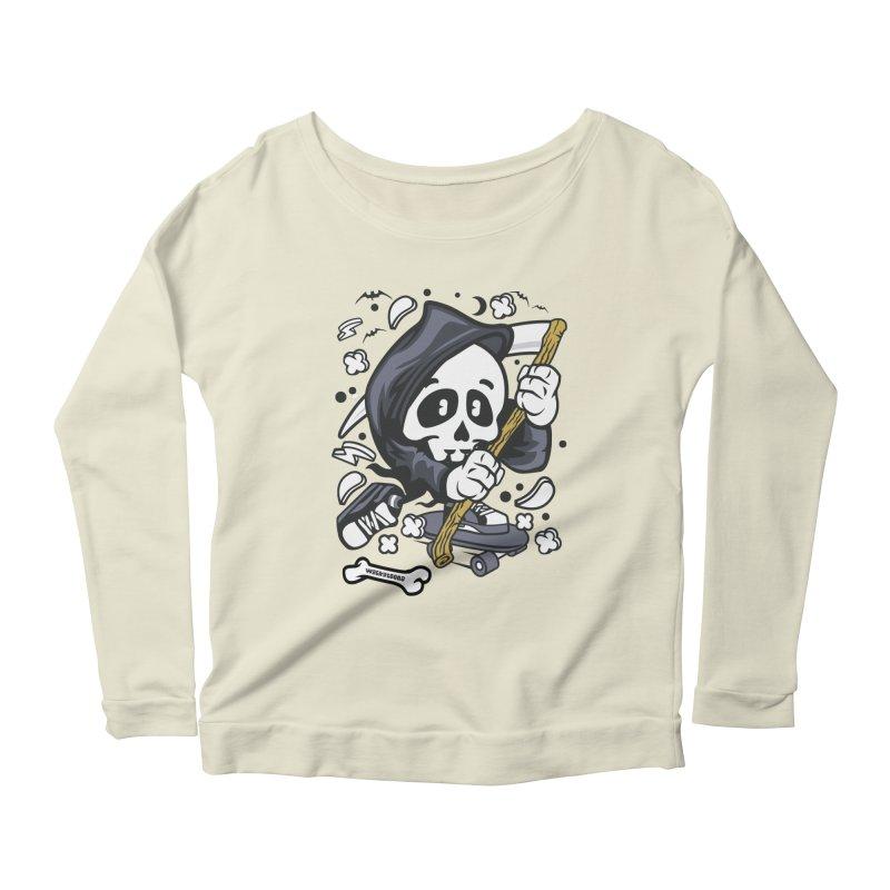 Skate Or Die Women's Scoop Neck Longsleeve T-Shirt by WackyToonz
