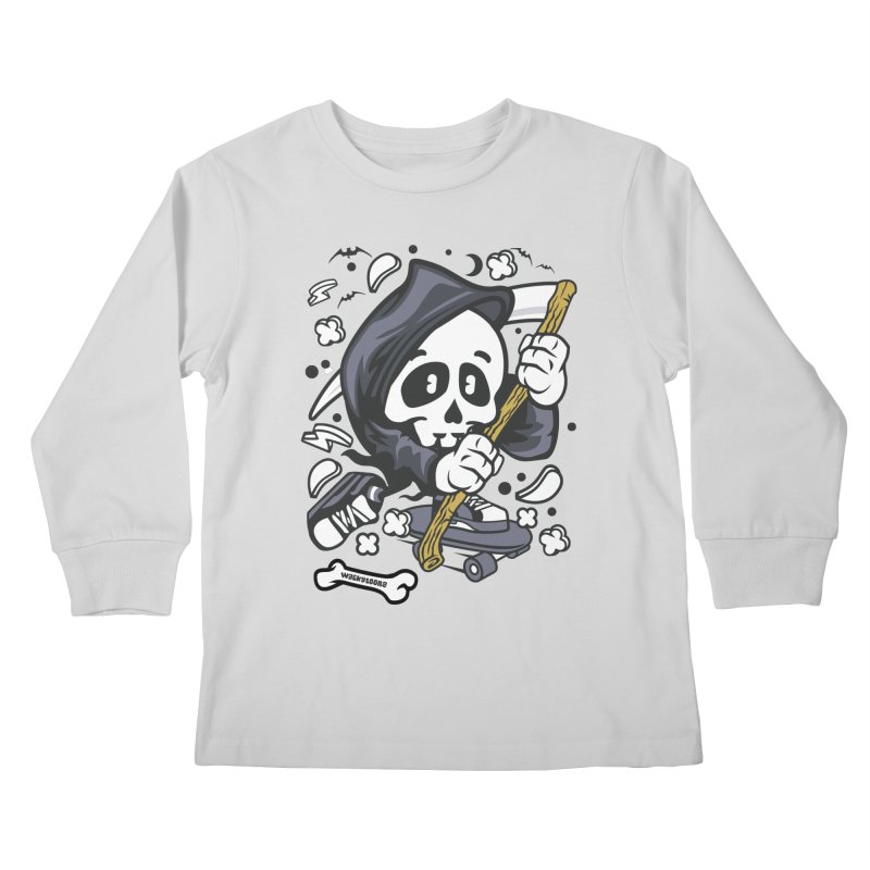 Skate Or Die Kids Longsleeve T-Shirt by WackyToonz