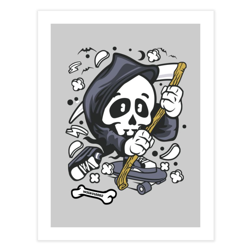 Skate Or Die Home Fine Art Print by WackyToonz