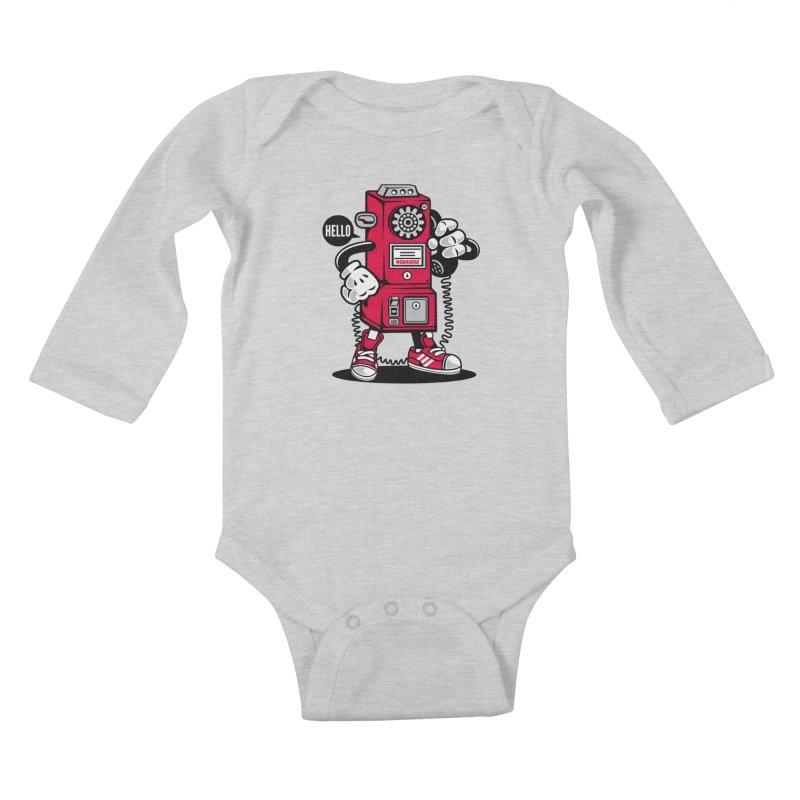 Incoming Call Kids Baby Longsleeve Bodysuit by WackyToonz