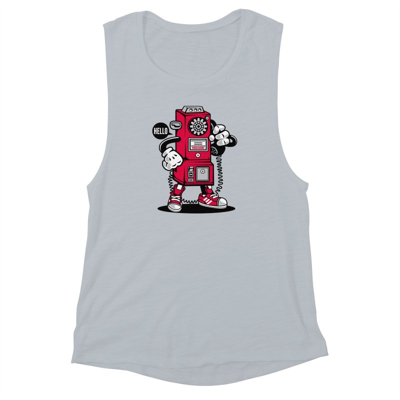 Incoming Call Women's Muscle Tank by WackyToonz