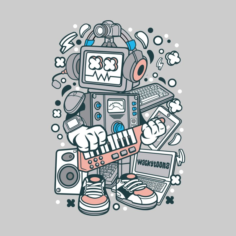 Techno Robot Accessories Sticker by WackyToonz