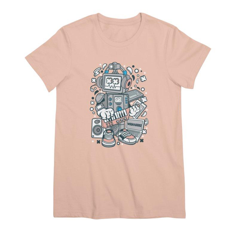 Techno Robot Women's Premium T-Shirt by WackyToonz