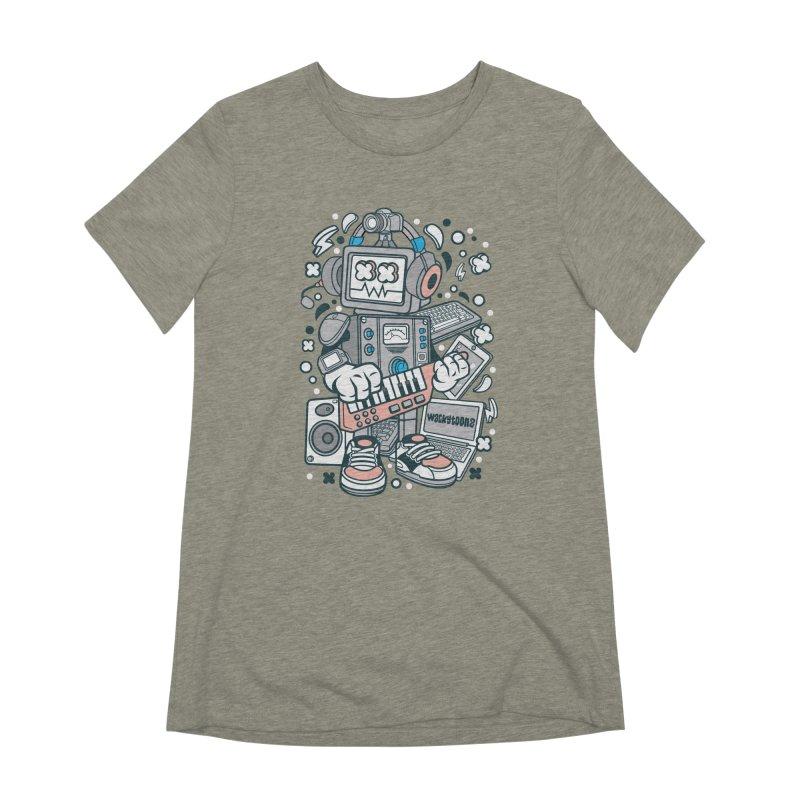 Techno Robot Women's Extra Soft T-Shirt by WackyToonz