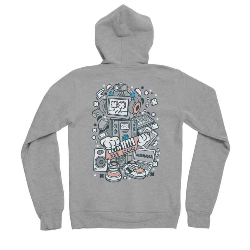 Techno Robot Women's Sponge Fleece Zip-Up Hoody by WackyToonz