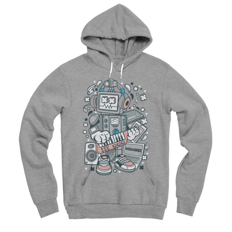 Techno Robot Men's Sponge Fleece Pullover Hoody by WackyToonz